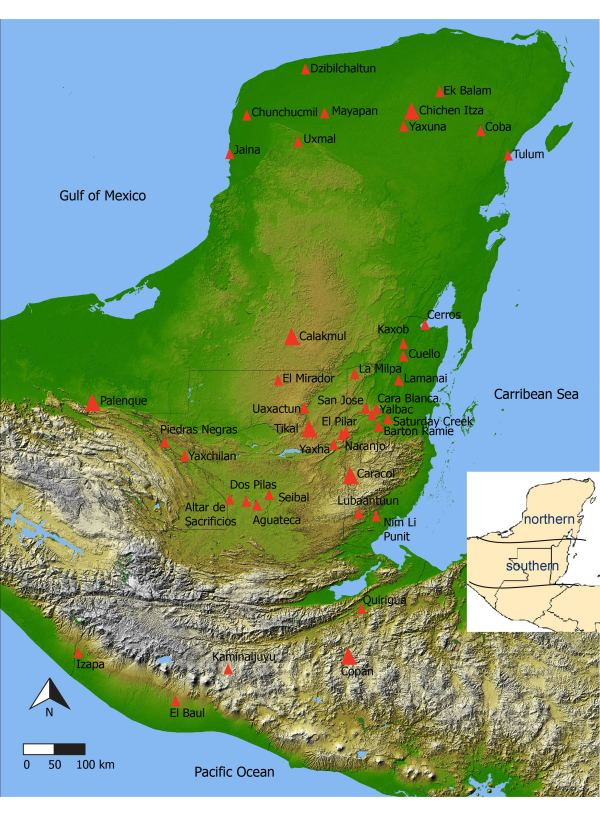 Map of Maya area