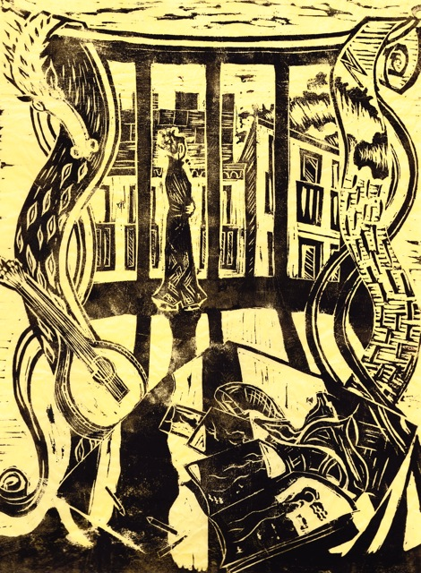 Lino cut illustration for The Riddle of the Trees. Image: Salli Hipkiss