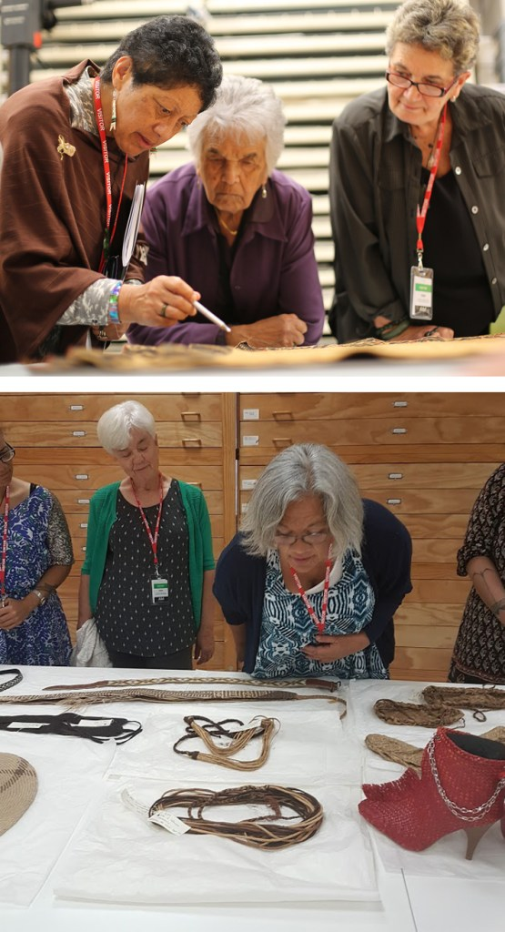 Members from the Taumata Mareikura and Auckland Museum Staff view a few examples of taonga Māori textiles in the collection