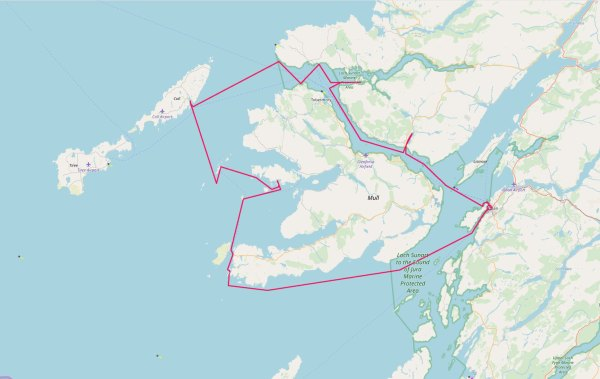 Map showing the Coastline Project route of The Alcuin round Mull