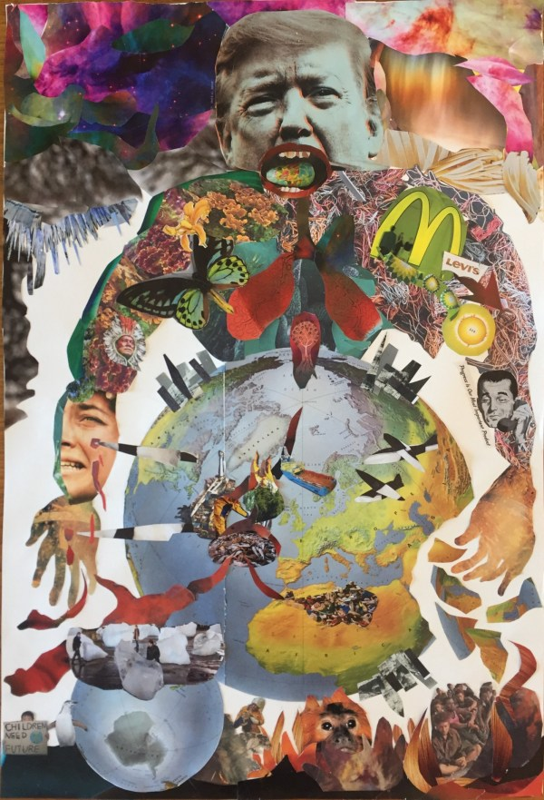 Bridget McKenzies' contribution to Quarantine Connection is her collage, 'Extraction and the Pandemic' (2020)