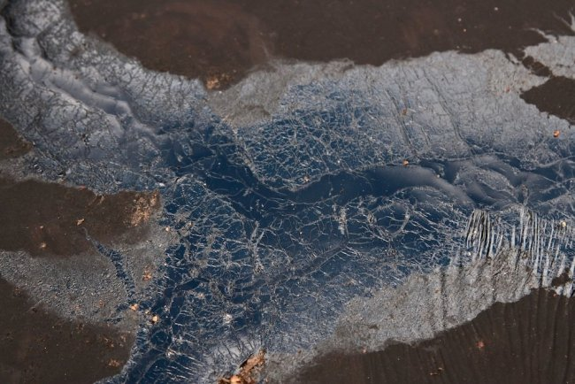 Showing a black pools of bitumen, its 'skin' intricately marked and rippled.