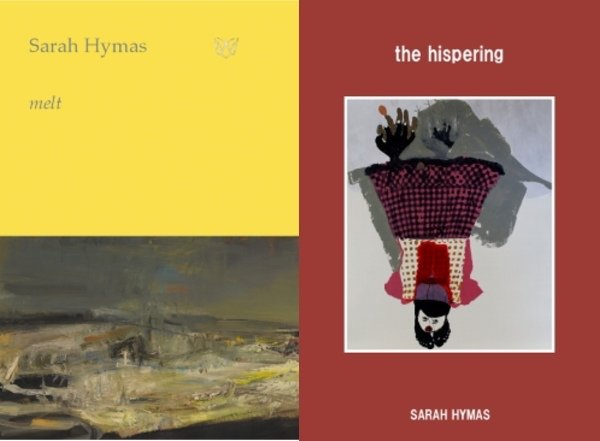 Showing the covers of Sarah Hymas's books Melt and The Hispering