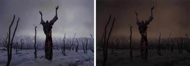 Do cities learn from getting burned, a diptych at D0 and D+' by artist Yky