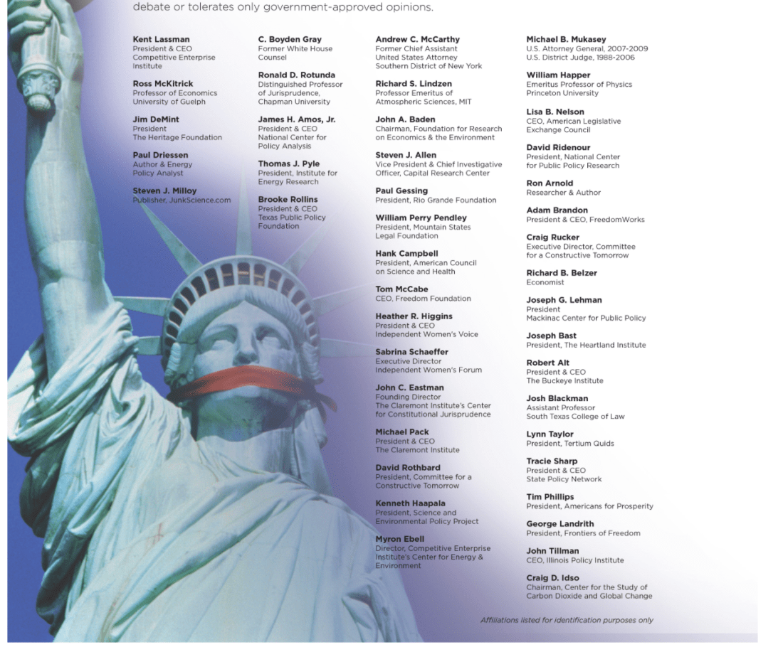 Competitive Enterprise Institute NYT Ad Signatories Got $10 Million