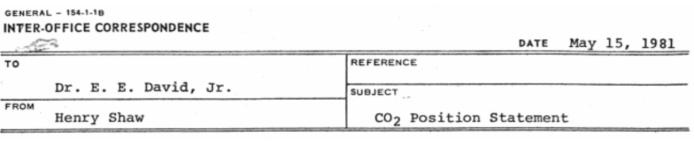 Exxon, Climate Change, CO2 Position Statement