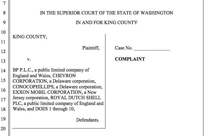 Climate change lawsuit, King County,