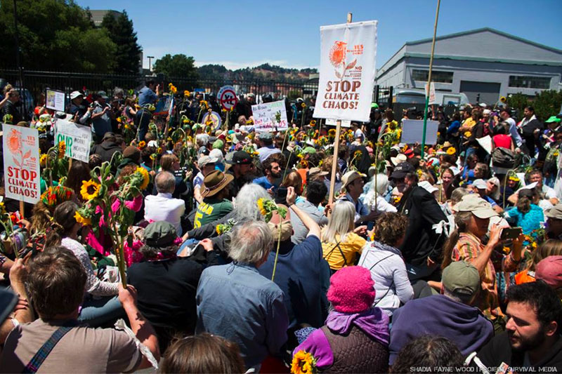 Thousands of people marched through the streets of Richmond, California to the gates of Chevron's refinery, where 210 people took part in non-violent civil disobedience.