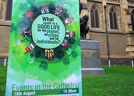 Poster in front of cathedral in Melbourne, advertising for a National Science Week event. Photo: Mik Aidt