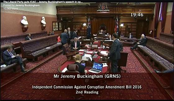 Jerry Buckinghams anti-corruption speech