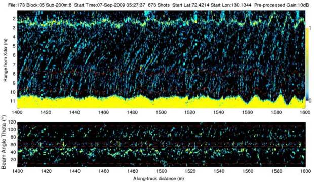 Examples of plume spatial density class d6: ~40-80 seeps per 200 m