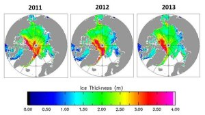 Changes in ice thickness for March/April 2011, 2012 and 2013 as measured by CryoSat.