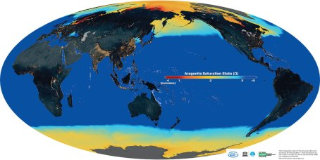 Aragonite saturation for surface ocean waters, at the beginning of the industrial revolution.