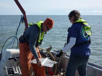 Collecting seismic data aboard the R/V Ukpik on the inner shelf of the US Beaufort Sea in 2011.