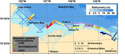Relative methane concentrations measured in real-time in near-surface seawater by CRDS technology in 2011 between Harrison Bay and Prudhoe Bay, Beaufort Sea, Alaska.