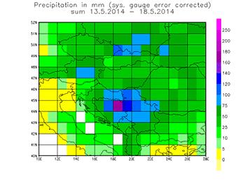 Hochwasser Balkan Summe Gebietsniederschlag Mai 2014 Jahrhundert Rekord