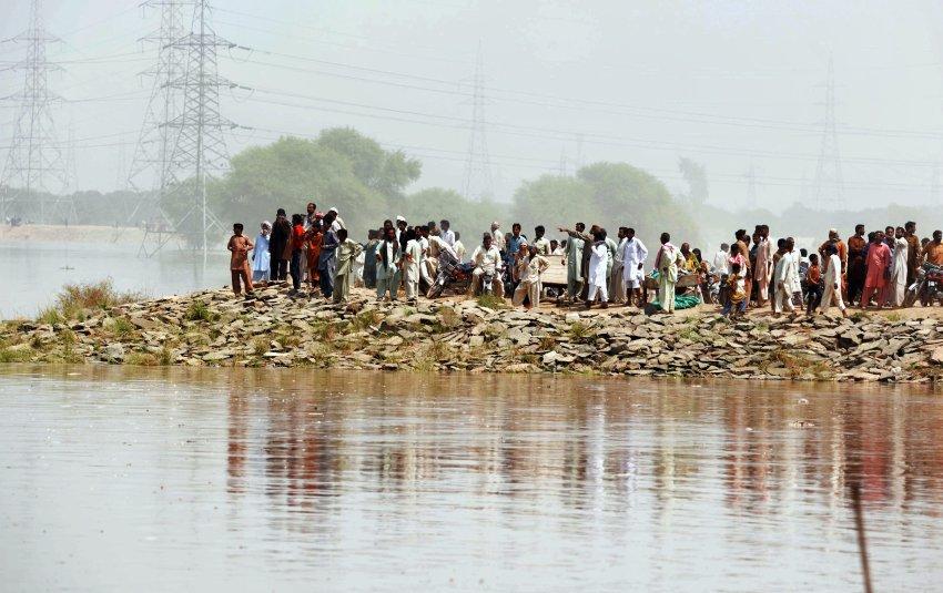 Flucht vor den Wassermassen: In Sher Shah, einem Ort in der ostpakistanischen Provinz Punjab, sammeln sich Menschen auf einem etwas höhergelegenen Stück Boden AFP PHOTO/ Arif ALI