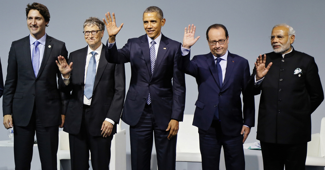 Canadian Prime Minister Justin Trudeau (L-R), Microsoft founder and philantropist Bill Gates, US President Barack Obama, US President Barack Obama, French President Francois Hollande and Indian Prime Minister Narendra Modi attend the 'Mission Innovation: Accelerating the Clean Energy Revolution' meeting at the COP21 World Climate Change Conference 2015 in Le Bourget, north of Paris, France, 30 November 2015. The 21st Conference of the Parties (COP21) due to be held in Paris from 30 November to 11 December will proceed as planned, despite the terrorist attacks of 13 November. The aim is to reach an international agreement to limit greenhouse gas emissions and curtail climate change. EPA/IAN LANGSDON/POOL MAXPPP OUT