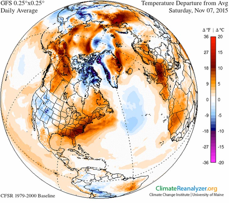 This 'global' view of the temperature anomaly for November 7th illustrates just how far above normal temperatures were in both the eastern U.S. and Western Europe simultaneously. It was perhaps the warmest November day on record for France. Image from the Climate Change Institute, University of Maine.
