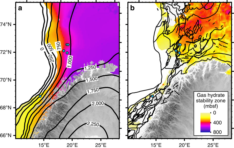 Thickness of GHSZ during the LGM (a) and at present-day conditions (b). Black contours denote (a) the ice-sheet thickness in metres during the LGM51 and (b) broad scale faulting system77. The average value of the geothermal gradient used is 31 °C km−1 (ref. 52). It is noteworthy that the abyssal plain has not been taken into account in our model.