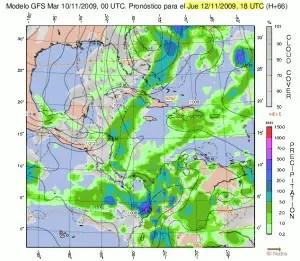 Frente frío moderado incursionando al caribe norte de Costa Rica para el jueves