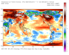 Anomalía de temperaturas respecto a la climatología.