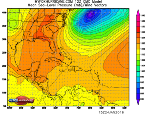 Masa de aire polar sobre USA, cuña llega a Yucatán y norte de C.A.