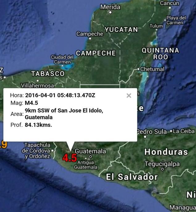 Sismo M4.5 Suchitepéquez, Guatemala