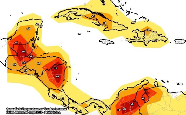 Anomalía de Temperatura Máxima. últimos 7 días.