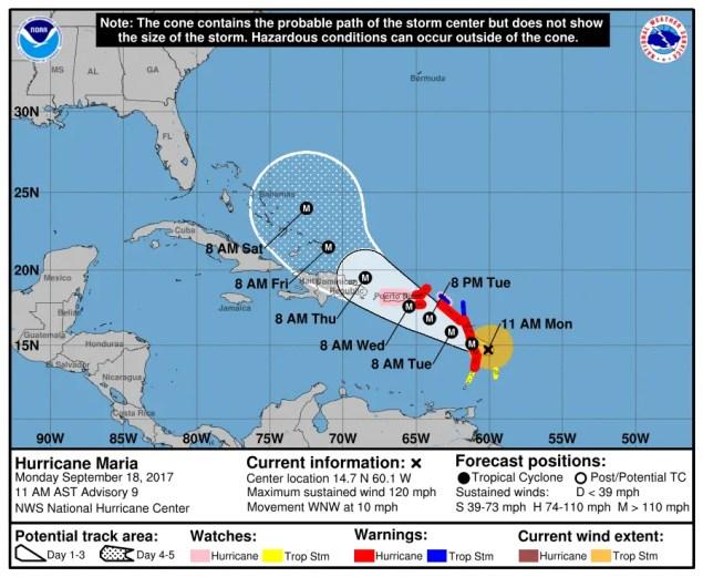 Pronóstico de NHC pone a María como huracán mayor miércoles x la mañana.