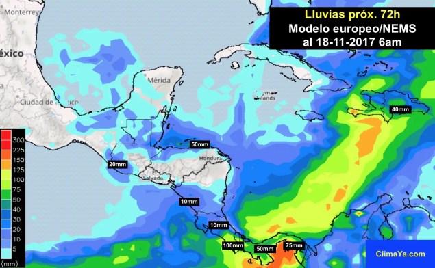 Pronóstico de lluvias próximas 72h en Centroamérica