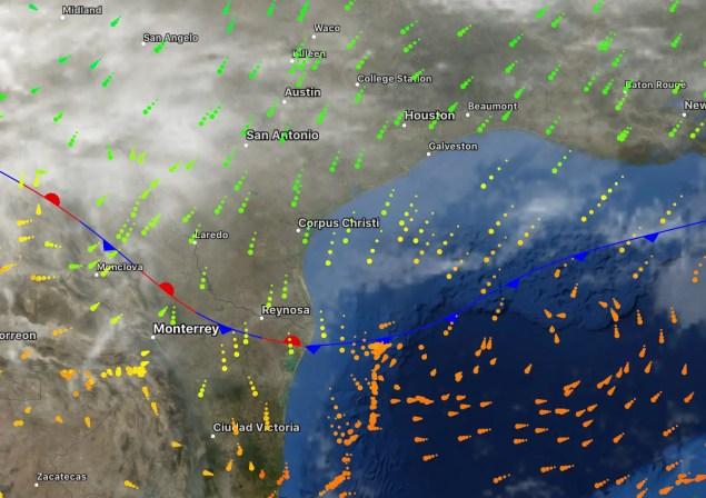 Aire frío del norte ingresando al norte de México por Texas 27-12-17
