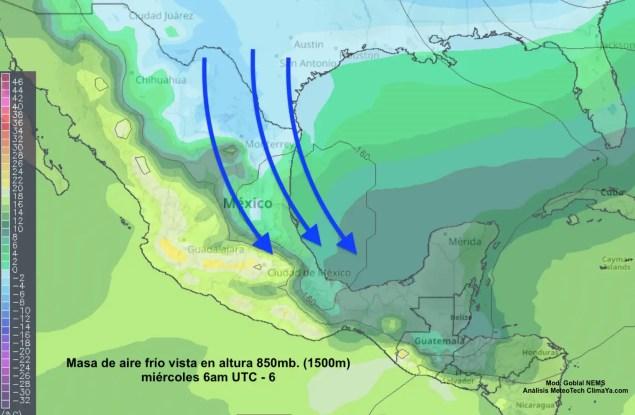Aire polar del norte llegando desde Texas