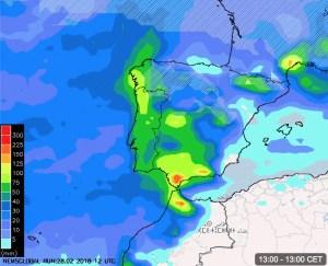 Lluvias +72h hasta el sábado 1pm CET. Nevadas en las cotas altas de Castilla y León.