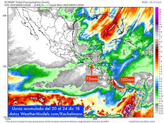 9-km ECMWF Global 00z_12z 3-Hourly Central America Total Precipitation 144