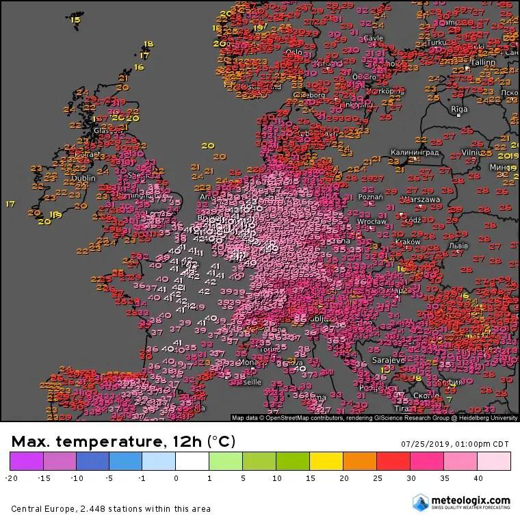 Temperaturas máximas registradas 25 de julio 2019 Europa Central