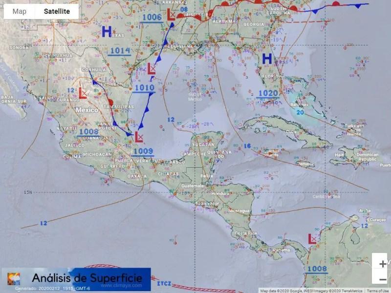 Frente frío bajando tímidamente por el Golfo de México