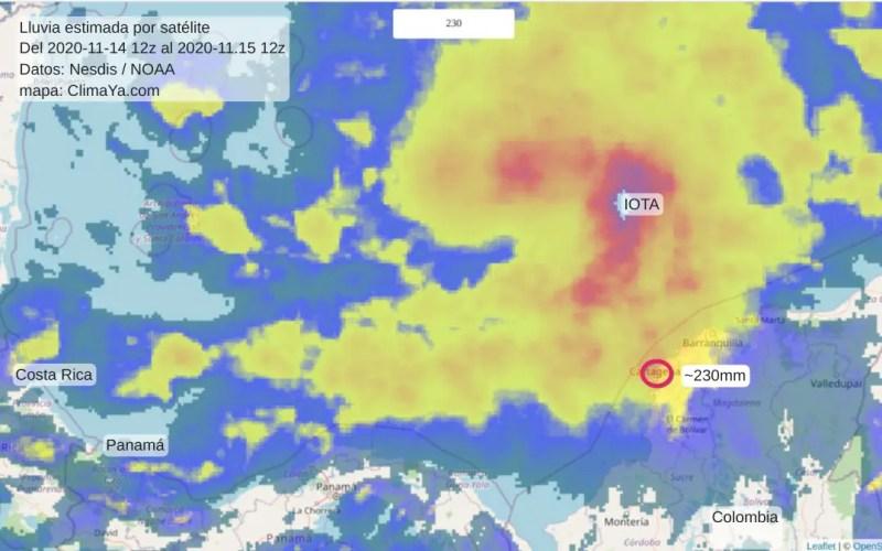 Lluvias estimadas por satélite 2020.11.1412z +24h
