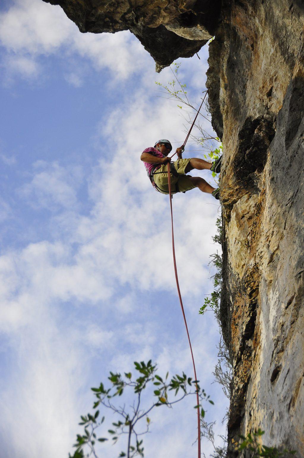 Climbing Cayman Brac -Rappel