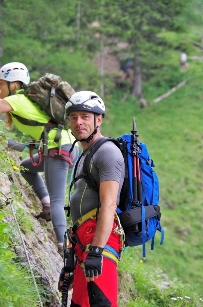 Darek na ferracie Alpenverreinsteig w dolinie Hollental