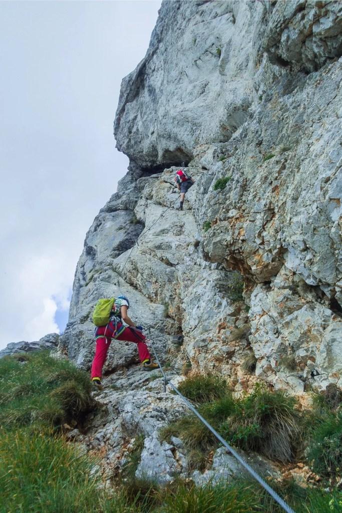 Wyjście do najtrudniejszego fragmentu ferraty i kominka na ferracie Konigschusswandsteig