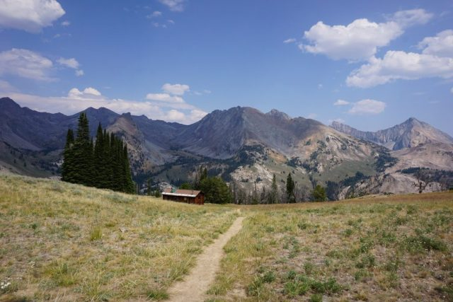 Pioneer mountains and the cabin.