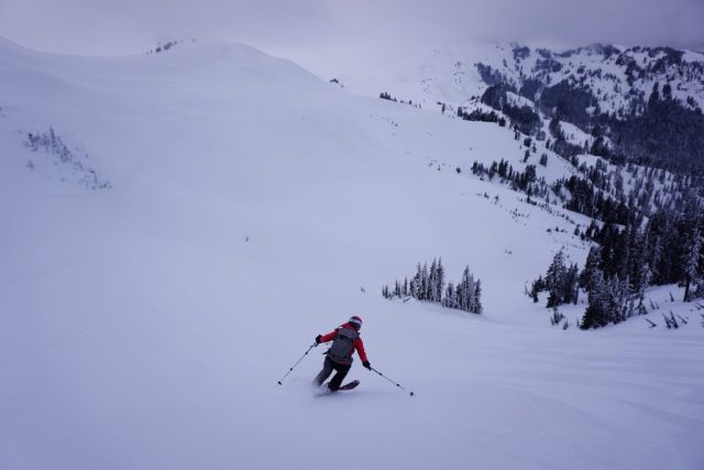 Fresh turns down the west face