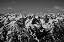 Black and white of the Glacier Peak Wilderness.