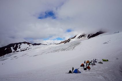 Broken clouds above our high camp on Baker.