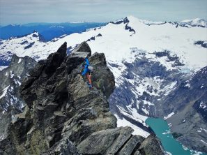 The final cruxy downclimb from the false summit.