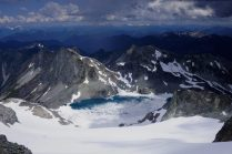 Staring down the awesome Lynch Glacier to Pea Soup Lake.