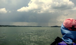 Huge rain storms off in the distance.