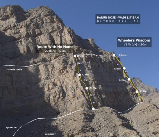 Topos des voies de Barun Nose, Wadi litibah
