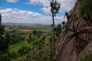 Falaise d'Ambohimanga, session de bolting au dessus des rizières 22